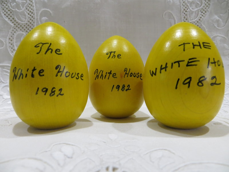 1982 Reagan Official Wooden Easter Egg Yellow