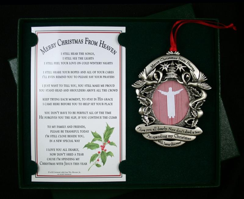 Christmas From Heaven.Merry Christmas From Heaven Remembrance Picture Ornament