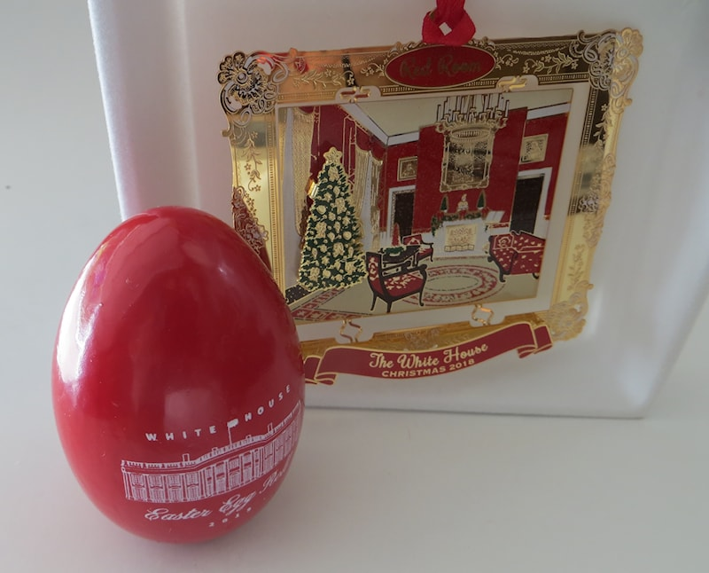 2019 White House Christmas Card.2018 The Red Room Ornament And 2019 Red Room Easter Egg