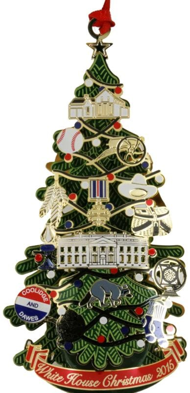 The front of this ornament shows off a wonderful Christmas tree decorated  with 14 ornaments that represent myriad Coolidge interests and memorabilia. - 2015 Official White House Historical Association Coolidge Ornament