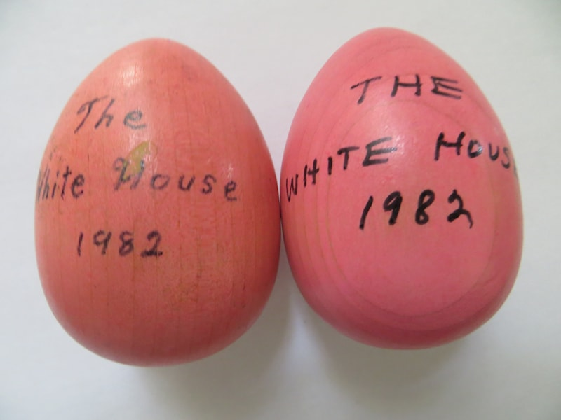 1982 Reagan Official Wooden Easter Egg Pink