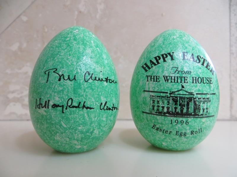 1996 Clinton Official White House Wooden Easter Eggs
