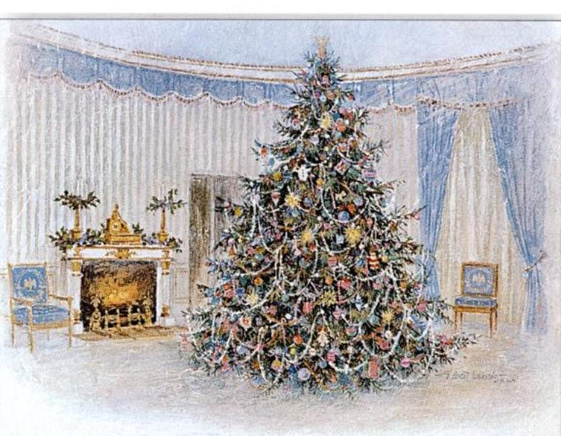Artist robert laessigs blue room card and gift print painted showcased the official white house christmas tree in 1967 for president and mrs lyndon baines